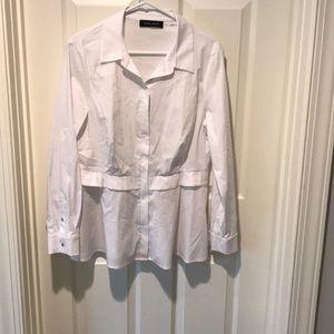 White zip up shirt, never worn